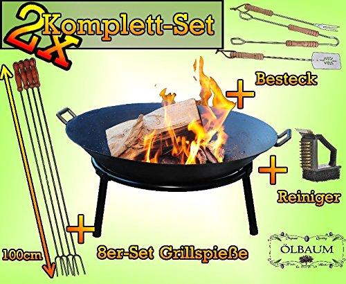 2 MASSIV Camping Feuer GRILL Feuerschale aus Gusseisen mit 2 Griffen + Standring, LEICHT+STABIL m. Zubehör Reinigungsbürste Besteck und Grillspieße