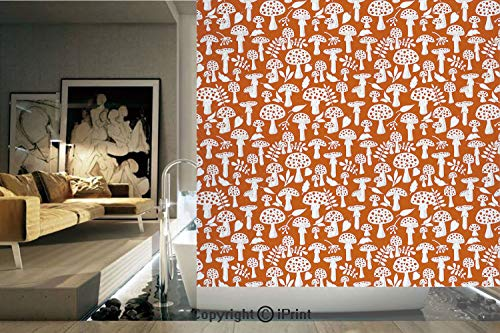 Decorative Privacy Window Film/Cute Amanita Pattern with Leaves Berries Poisonous Plants Cartoon Style Decorative/No-Glue Self Static Cling for Home Bedroom Bathroom Kitchen Office Decor Burnt Sienna
