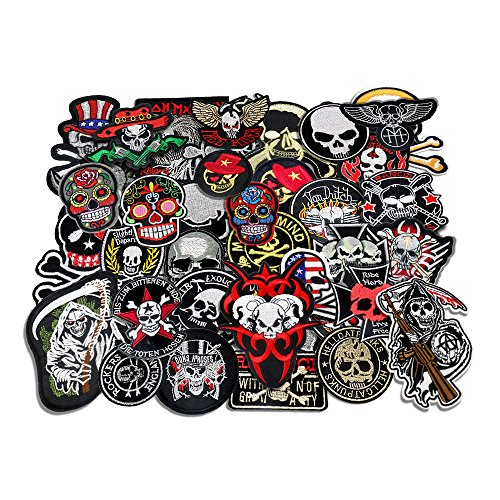 24pcs/lot Mixed 5-12cm Iron-on Embroidered Patches skull style Appliques]()
