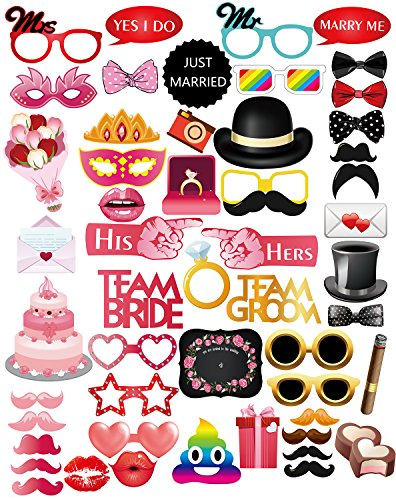 MOT Global Wedding Photo Booth Props - 52 Pieces Photo Props Kits for Wedding Shower Party Supplies