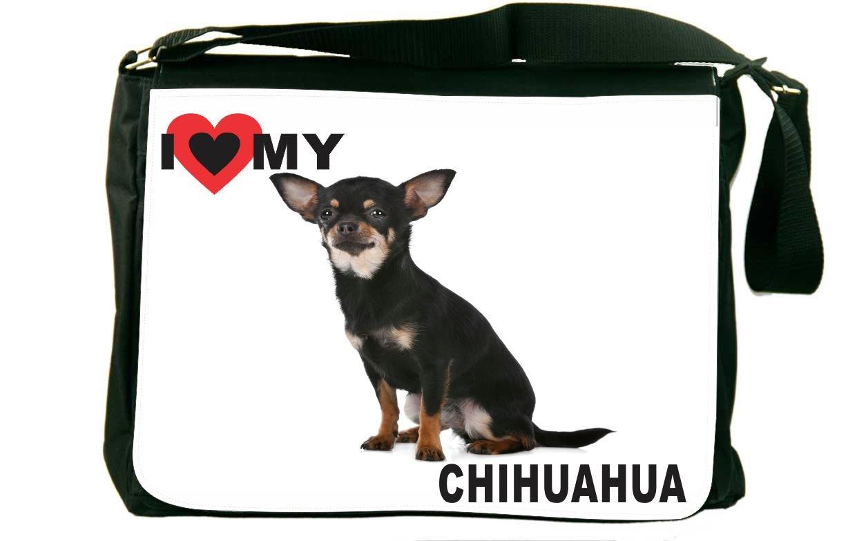 Rikki Knight I Love My Black Chihuahua Dog Design Messenger Bag - Shoulder Bag - School Bag for School or Work