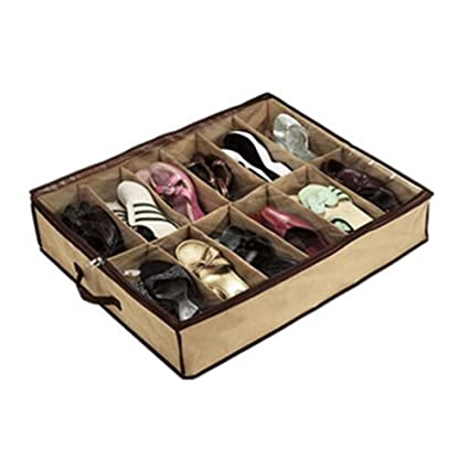 SHIPPING STORY  12 Pairs Vogue Shoes Container Organizer Small Square  Handle Storage Box Holder Under