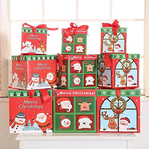 Christmas Gift Box Cartoon Gift Set Three-Piece Snowflake Gift Box Christmas Scene Decorations Christmas Tree Ornaments Christmas wreath style by Dong Cun Bai (Image #2)