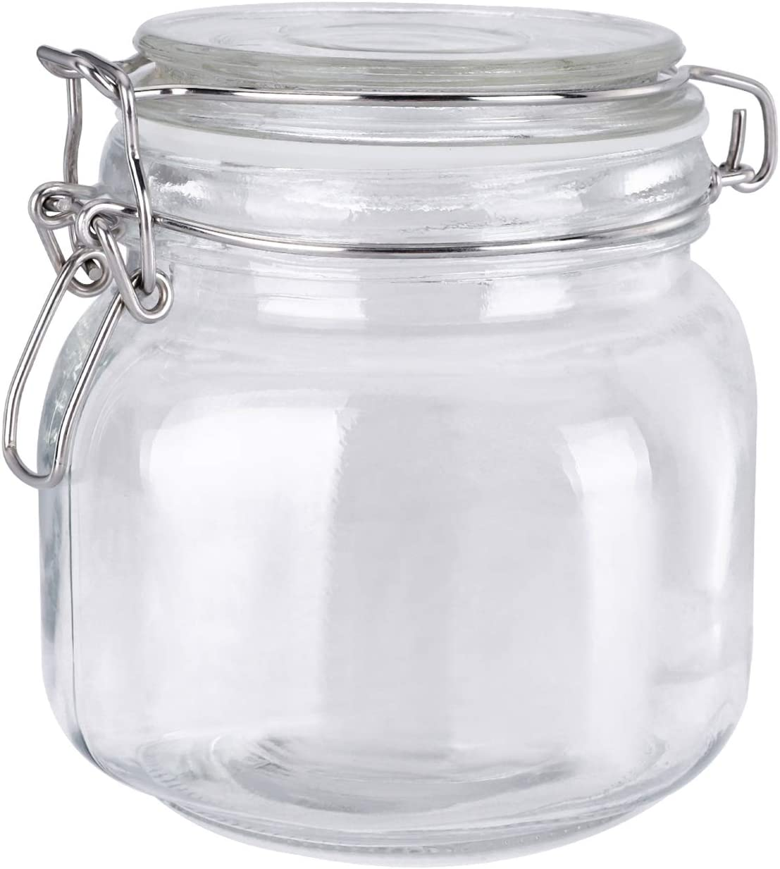 MUCH 25OZ Kitchen Food Storage Canister Mason Jar with Lid, Clear Canning Container, Wide Mouth Airtight Glass Preserving Jar with New Stainless Steel Locking Clamp and Rubber Seal