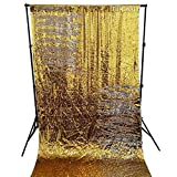 DUOBAO Sequin Backdrop 8Ft Gold to Silver Mermaid Sequin Backdrop Fabric 6FTx8FT Two Tone Sequin Curtains