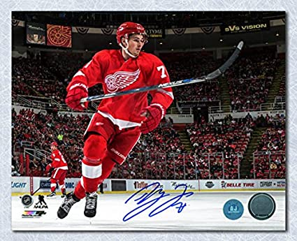 the latest 13119 604df Image Unavailable. Image not available for. Color  Dylan Larkin Detroit Red  Wings Autographed Joe Louis Arena Hockey ...