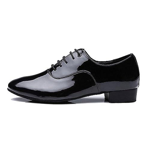on sale 94ec3 99a6a Sansha, scarpe da ballo da uomo, con tacco da 2,5 cm e suola morbida, in  pelle, con lacci, moderne, Nero (Bright Black), 40