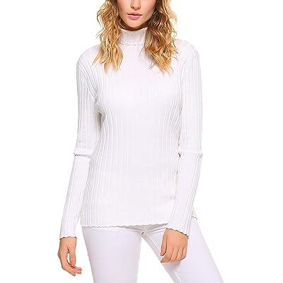 Abollria Suéter Elegante Cuello Alto para Mujer Jerséy Clásico Manga Larga para Otoño Invierno: Ropa y accesorios