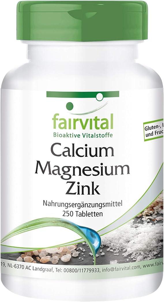 Calcio Magnesio Zinc Comprimidos - VEGANO - dosis alta - 250 ...