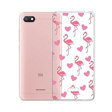 IJIA Case Funda para Xiaomi Redmi 6A, Transparente Amar Corazon Flamencos TPU Silicona Suave Cover Tapa Caso Parachoques Carcasa Cubierta para Xiaomi ...