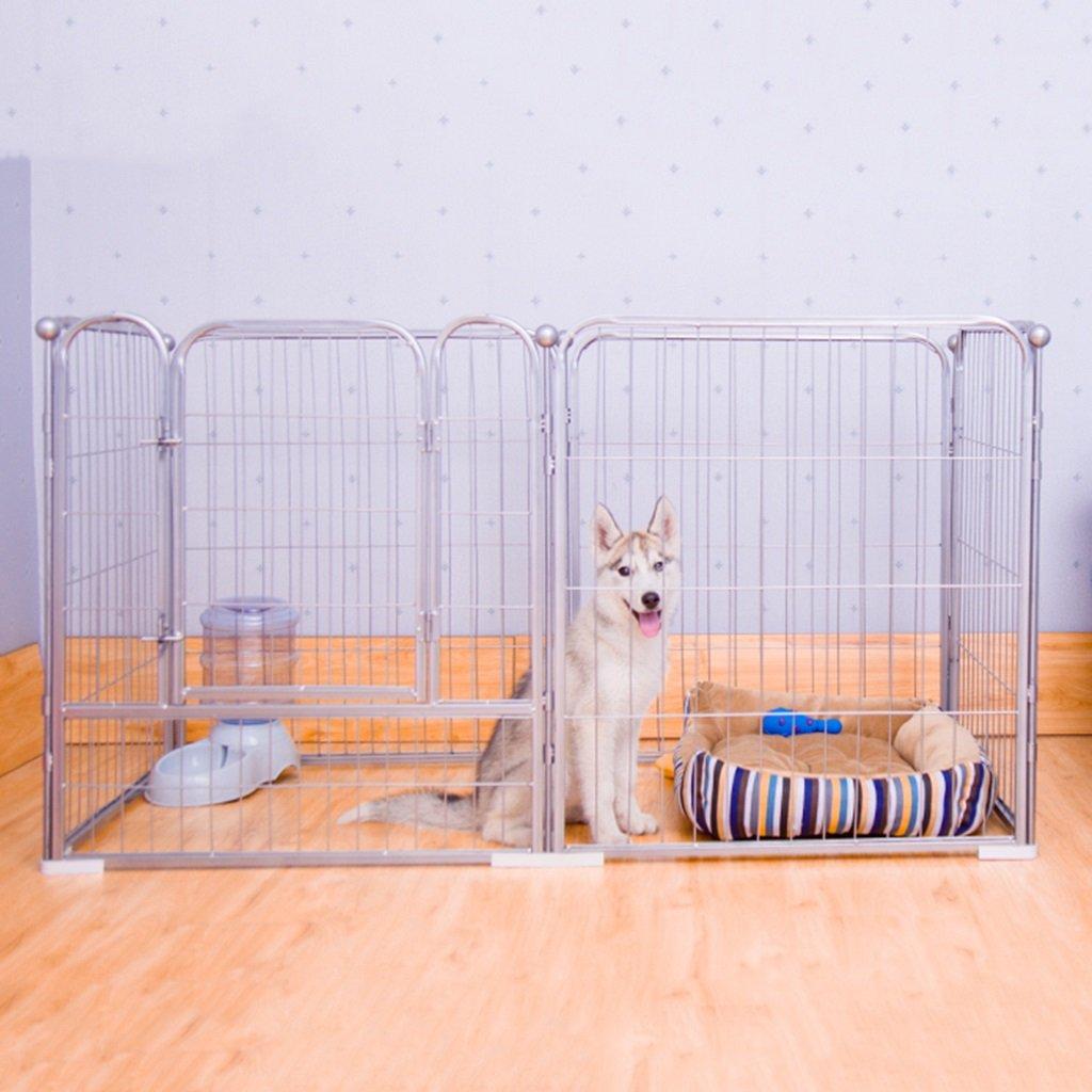 大型犬の遊び屋屋内屋外、紫色の金属ペットフェンスハウス、モジュラーボックスケンネル6パネル (色 : シルバー しるば゜, サイズ さいず : L(140 * 70 * 80cm)) L(140*70*80cm) シルバー しるば゜ B07FJN1ZMZ