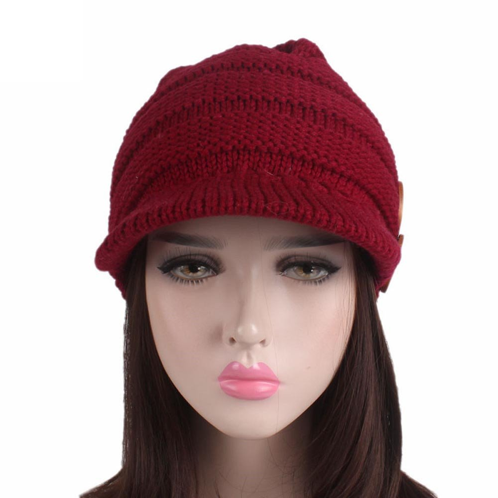 d143d6c64 iTLOTL Women Ladies Winter Knitting Hat Berets Turban Brim Hat Cap ...