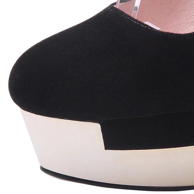 AIYOUMEI Damen knöchelriemchen Stiletto Plateau Schwarz Pumps mit Schnürsenkel und 13cm Absatz Elegant Schuhe hnJa2x3K7