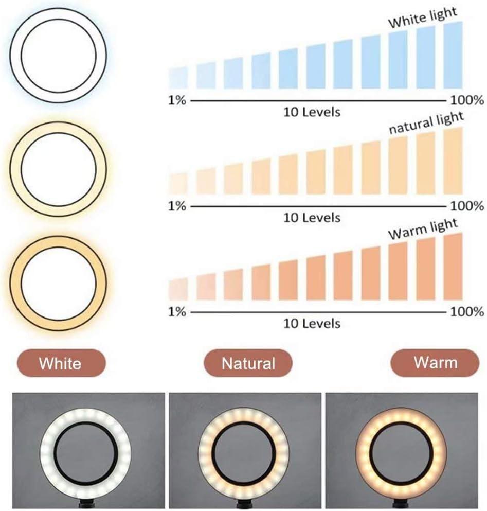 JiNKesI 10inch Selfie Ring Light Set//3 Modes d/éclairage et 11 Niveaux de luminosit/é Ring Light avec Support de tr/épied Extensible de 50et Support de t/él/éphone Portable//pour la Diffusion en Direct