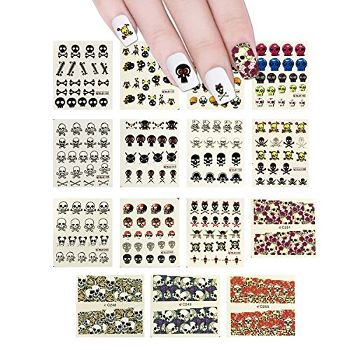 ALLYDREW 15 Sheets Skulls Water Slide Nail Art Decals Water Transfer Nail Decals (220+ Nail -
