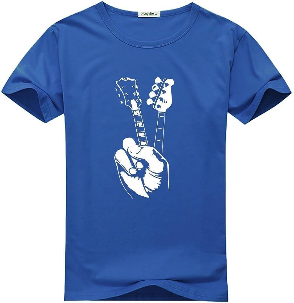 Guitarra paz mano para las mujeres impreso manga corta camiseta ...