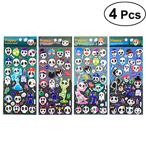 Amosfun 4 Pcs 3D Fluorescent Luminous Cartoon Skull Decals Smile Face Evil Face Stickers for Party -