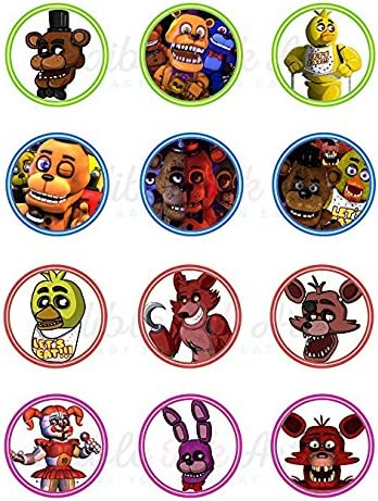 Edible Cake Topper OR Cupcake Topper Decor FIVE NIGHTS AT FREDDY
