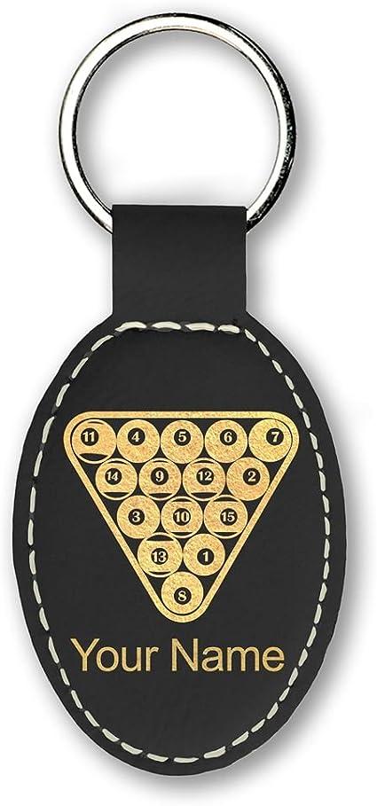 Llavero – Bolas de billar – personalizado grabado incluido (negro ...