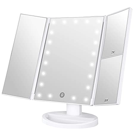Maybeau Lighted Makeup Mirror 1x5x7x Magnification Trifold Vanity