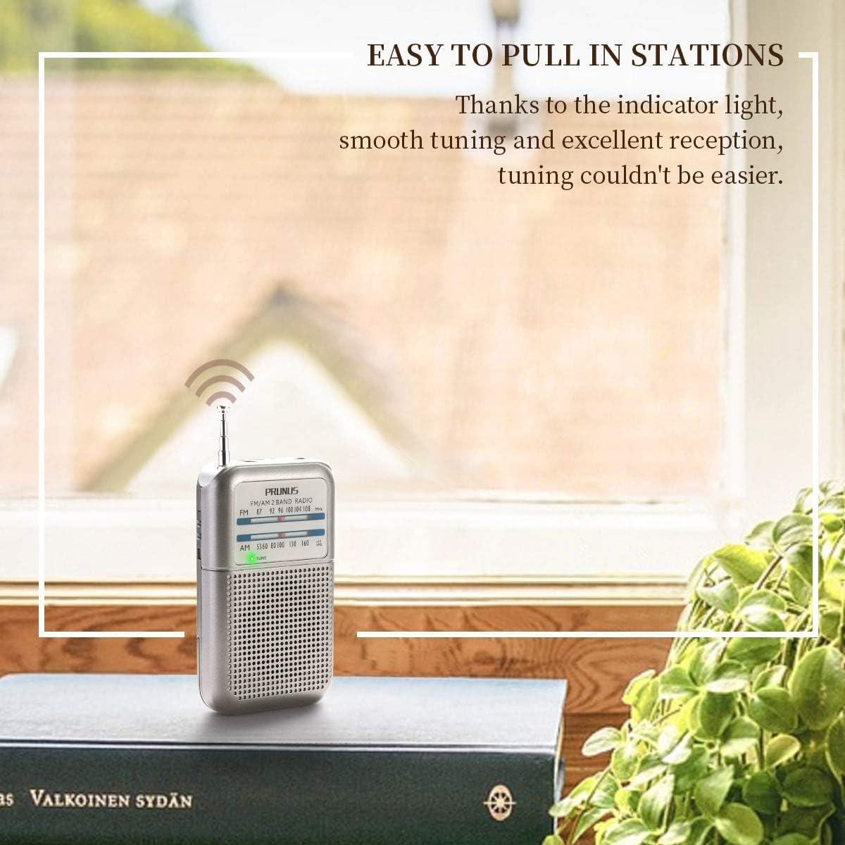 Se/ñal excelente Funciona con Pilas Intercambiables . PRUNUS DEGEN-DE333 Transistor Radio de Bolsillo FM//Am Sintonizador con indicador AAA
