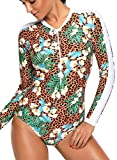 Jeferym 2018 Women's Sexy Swimsuits One-Piece Rash Guard Long Sleeve Zipper UPF 50+ Sun Protection Athletic Surfing Swimwear
