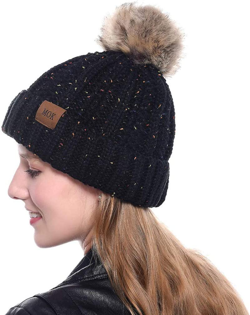 Transser Womens Knit Slouch Pom Pom Beanie Hats Thick Soft Warm Winter Hats Skully Cap Ski Hat