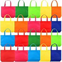 "20Pack 13"" Party Favor Gift Tote Bags, Assorted Bright Colors, Non-Woven Rainbow Treat Bags with Handles For Birthday…"