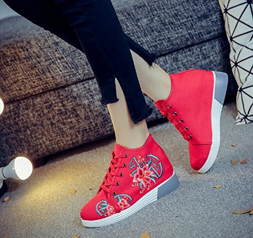 Embroidery Fashion Women up Lace Chinese Lazutom Shoes Lady Sneaker Red Style RYxn0nqd