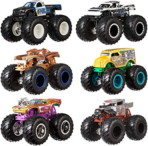 Hot Wheels Monster Demo Doubles Trucks 2 Pack - Styles May Vary (Dinosaur With Horn On Back Of Head)
