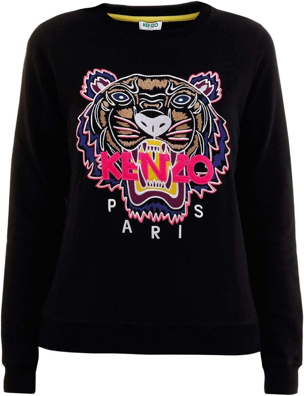 Kenzo Felpa Tigre nera con Ricamo frontale Multicolore