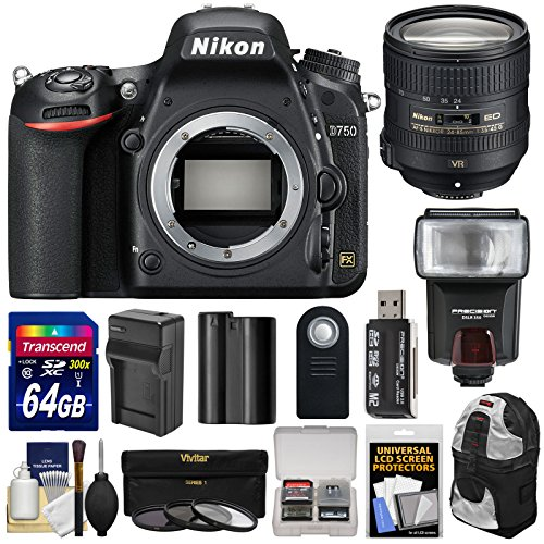 (Nikon D750 Digital SLR Camera Body with 24-85mm VR Lens + 64GB Card + Battery & Charger + Backpack + 3 Filters + Flash + Kit)