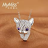 Generic ss_Platinum_Plated_Micro_Pave_CZ_ necklace pendant women girl short _Japan_and_South_ Korea Cute _puppy_ necklace pendant chain jewelry clavicle