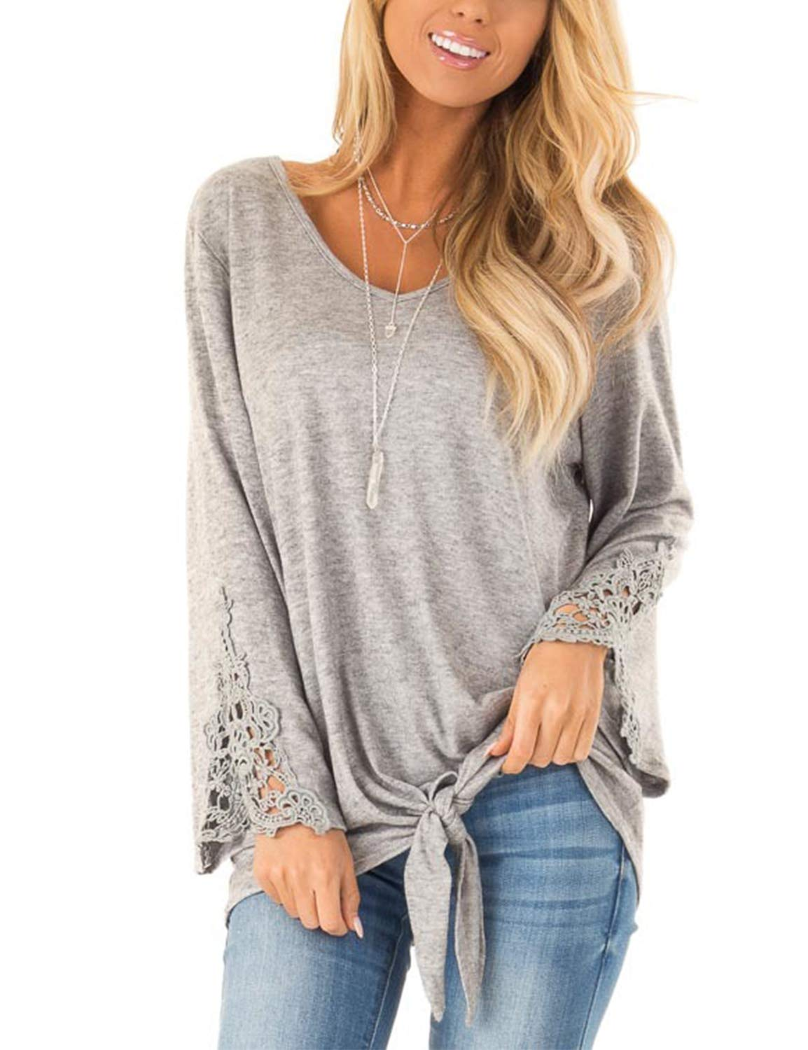 Blooming Jelly Women's Casual Crochet Lace Tie Knot Shirt Long Sleeve V Neck Knotted Top T Shirt(S, Grey)