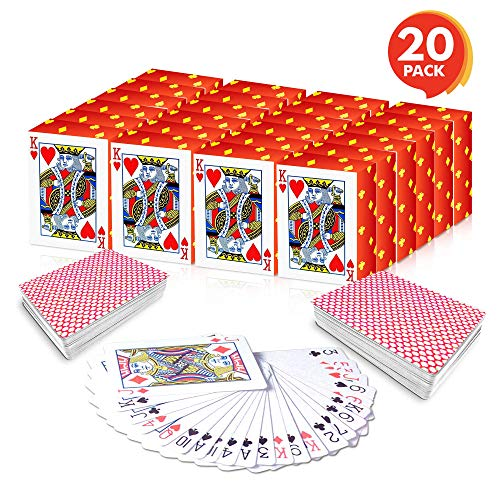 Gamie Mini Playing Cards - Pack of 20 Decks - Poker Cards - Miniature 1.5 Inch Card Set - Small Casino Game Cards for Kids, and Adults - Great Novelty ()