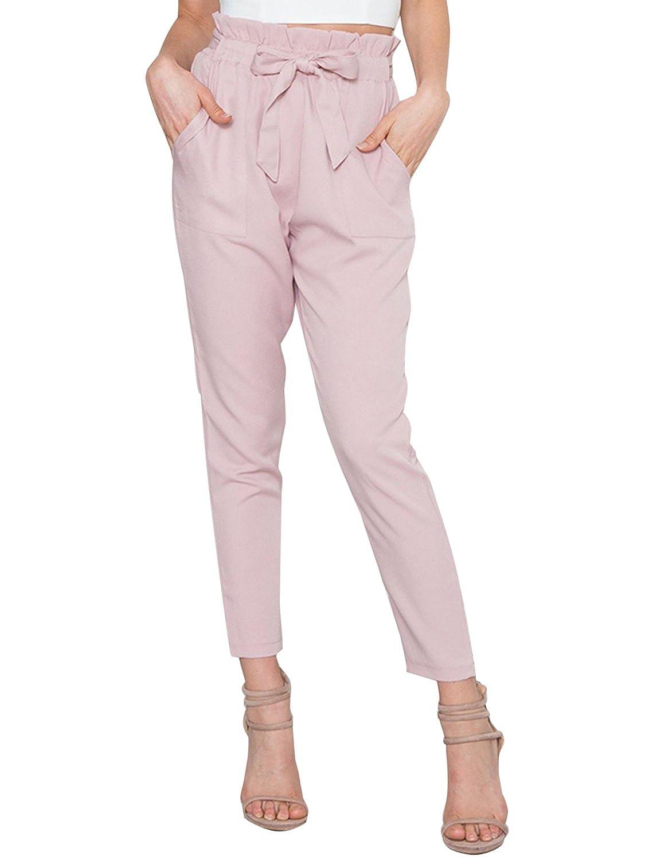 TALLA ES 38. Simplee Apparel Women 's Casual regular fit lápiz pantalones de cintura alta cintura de cordon pantalones de harén