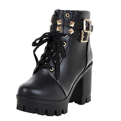 UH Damen Blockabsatz Plateau High Heel Stiefeletten Schnür Boots mit Fell Nieten und Reißverschluss Warm Schuhe nHDXz5lU