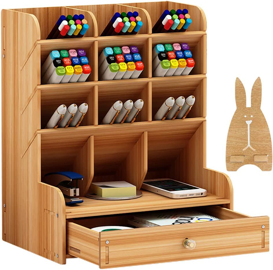 Wooden Desk Organizer, Craft Pen Pencil Crayon Holder Box, Art Desktop Stationary, Home Office Supply Storage Rack with Drawer,Cell Phone Holder