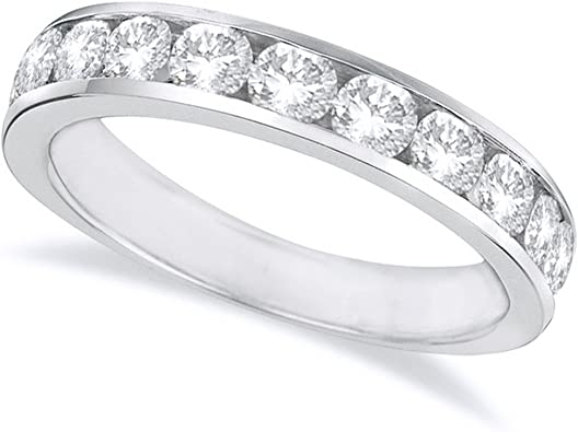 2 Ct Diamond /& Emerald 14K White Gold Over Semi Eternity Anniversary Ring