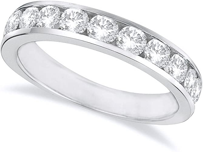 D-E Color VS1-VS2 Clarity 1.5 1 1//2 Carat ctw 14K White Gold Round Diamond Ladies Eternity Wedding Anniversary Stackable Ring Band Luxury Collection