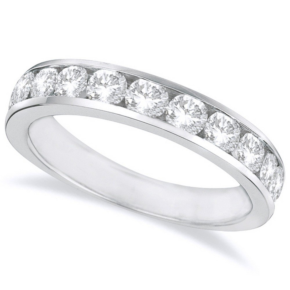 2 Carat (ctw) 14K White Gold Round Diamond Ladies Channel Set Half-Way Semi-Eternity Wedding Anniversary Stackable Ring Band Premium Collection
