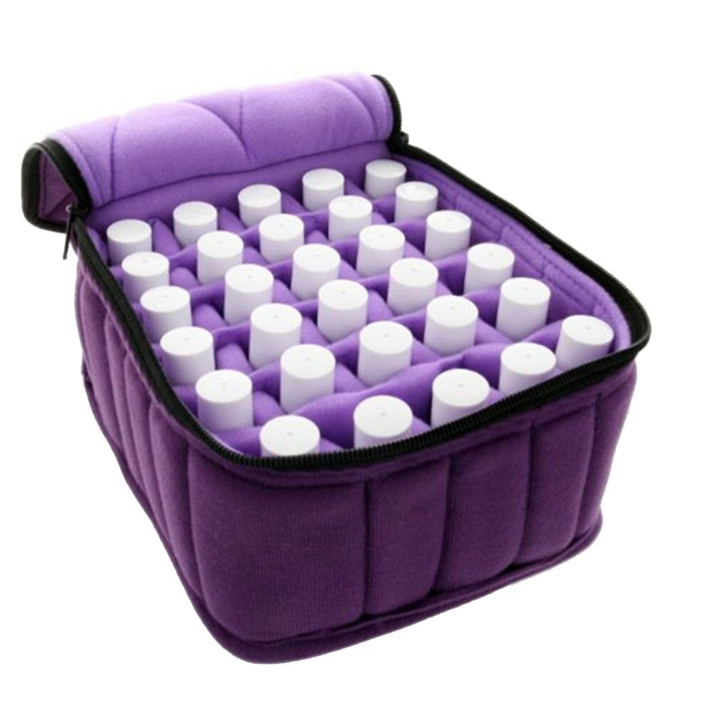 FLYMEI 30-Bottle Essential Oil Carrying Case - Oil Cases for Essential Oils - Portable Handle Bag for Travel and Home - Sturdy Zippers – Holds 5ml, 10ml, 15ml and Roll-Ons Bottles (Purple) Variation