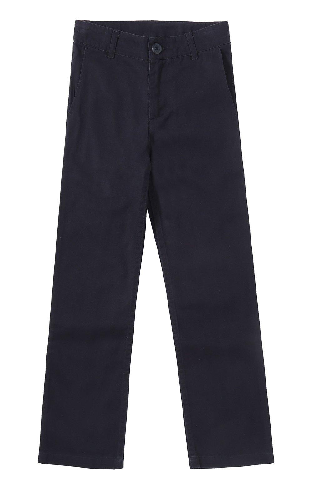 Bienzoe Girl's School Uniforms Stretchy Twill Adjust Waist Flat Front Pants Navy Size 10