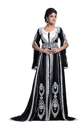 Palasfashion Frauen Hochzeit Kaftan Kleid Schwarz Amazon De Bekleidung
