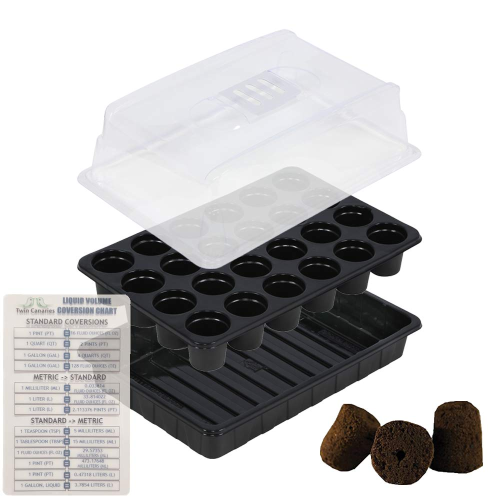 Super Sprouter Simple Start 24 Site Micro Greenhouse Seedling Starter Tray Kit with Rapid Rooter Plugs + Twin Canaries Chart by The Hydroponic City