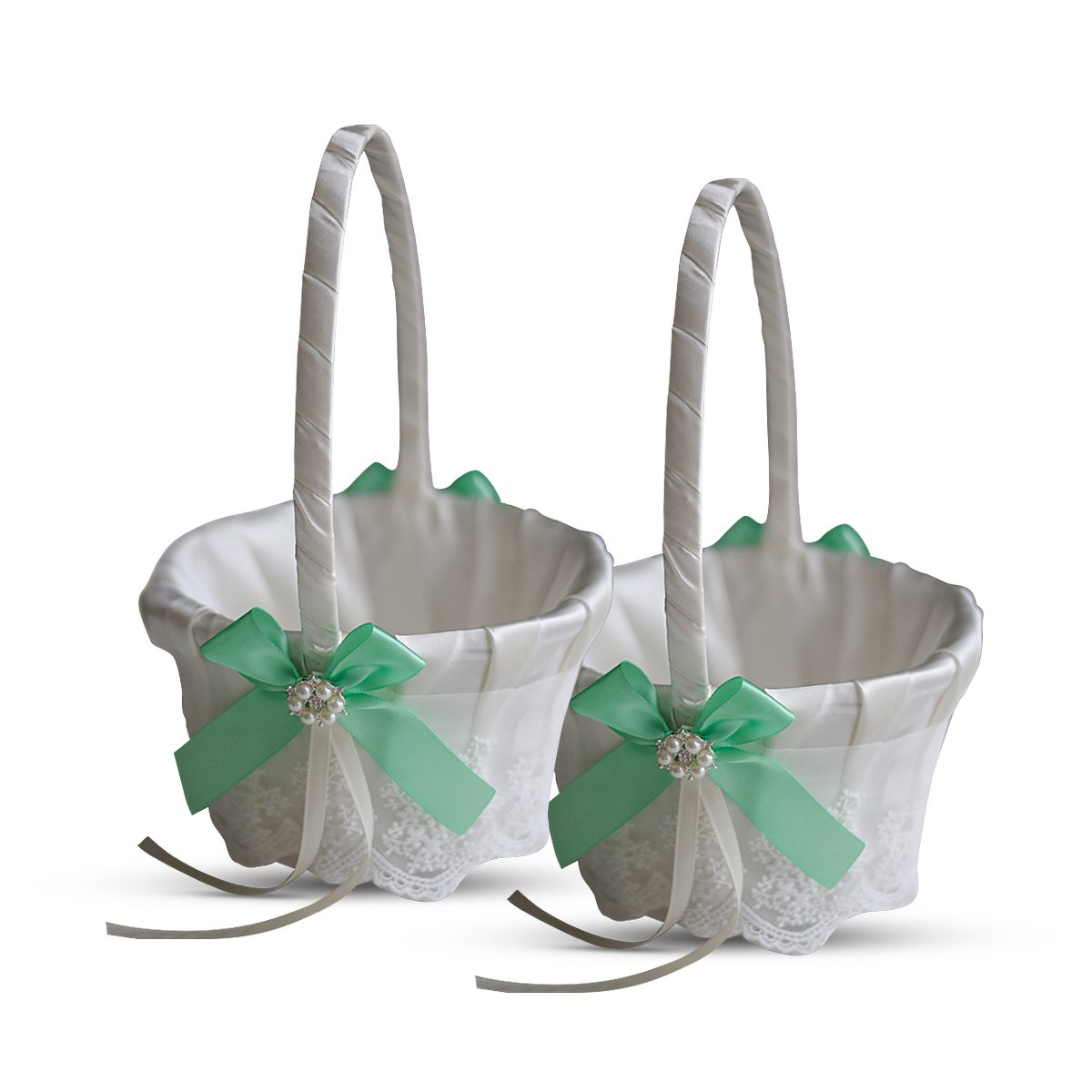 Alex Emotions Ivory Ring Bearer Pillow and Basket Set | Lace Collection | Flower Girl & Welcome Basket for Guest | Handmade Wedding Baskets & Pillows (Apple Green)