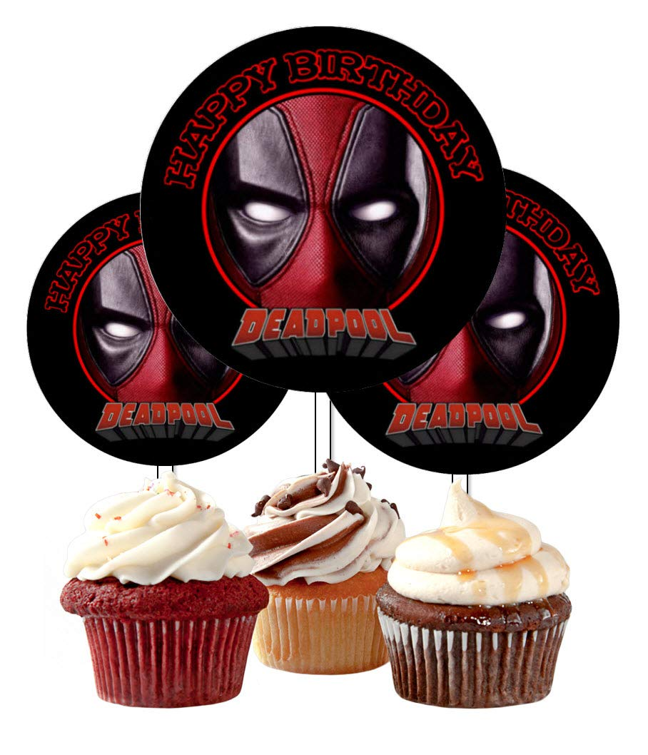 12 Happy Birthday Deadpool Inspired Party Picks, Cupcake Picks, Cupcake Toppers #1 by Crafting Mania LLC.