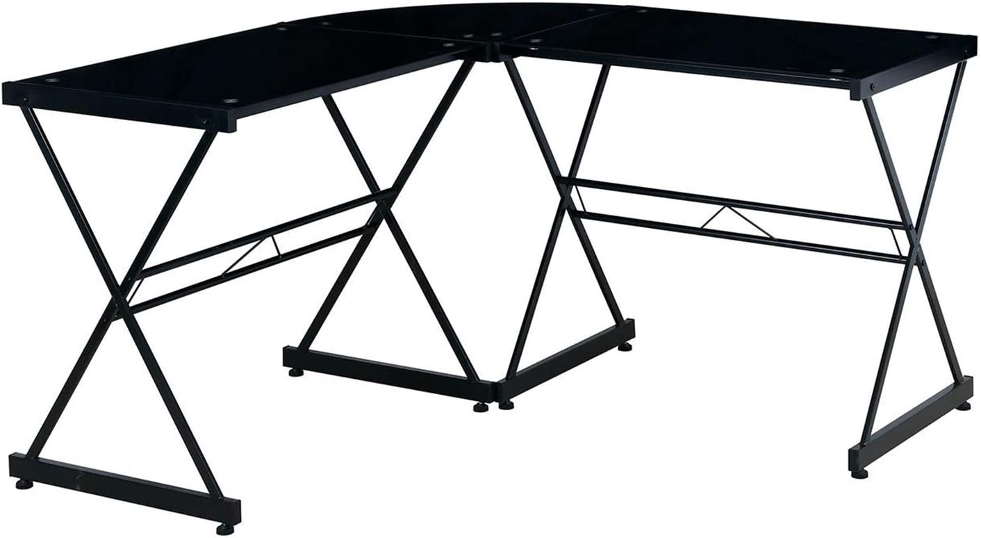 Techni Mobili Black L-Shaped Glass Computer Desk