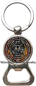 New Cthulhu R'lyeh Sigil Key Ring Inspired by H.P. Lovecraft Key Ring Bottle openers Keychain Glass Photo cabochon Bottle openers Keychain,PU341