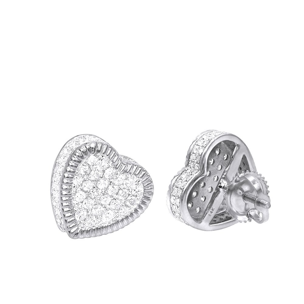Solid 14K Rose, White or Yellow Gold Large Heart Diamond Stud Earrings 1ctw (White Gold)